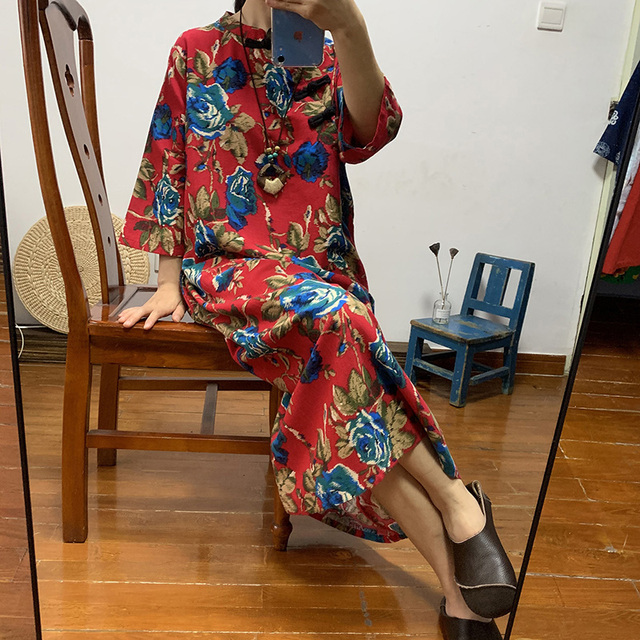 Ethnic women's long cotton and linen large color loose size dress Chinese retro diagonal buckle tea clothing autumn 2