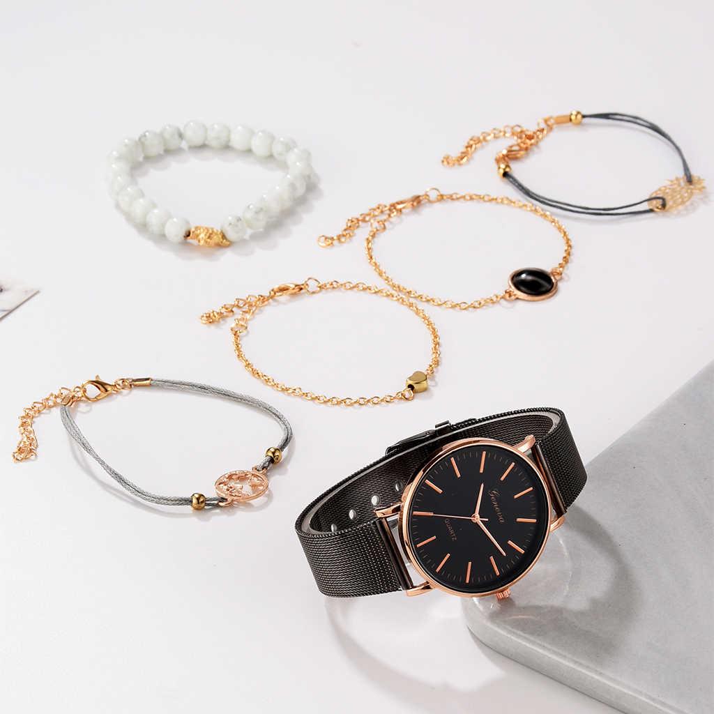 6 шт набор женские часы простые Модные женские наручные часы роскошные женские часы браслет Reloj Mujer Часы Relogio Feminino