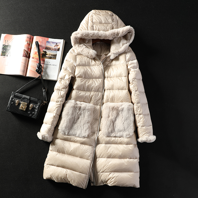 Duck Down Jackets Women Portable Fashionable Contracted Rabbit Fur Pocket Hooded Medium-long Down Coat