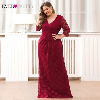 Plus Size Mermaid Prom Dresses Long Ever Pretty Lace V-Neck 3/4 Sleeve Elegant Formal Party Gowns Vestidos Formatura Longo 2020 plus size prom dresses 2020 ever pretty ep08838 elegant mermaid lace sleeveless v neck long party gowns sexy wedding guest gowns