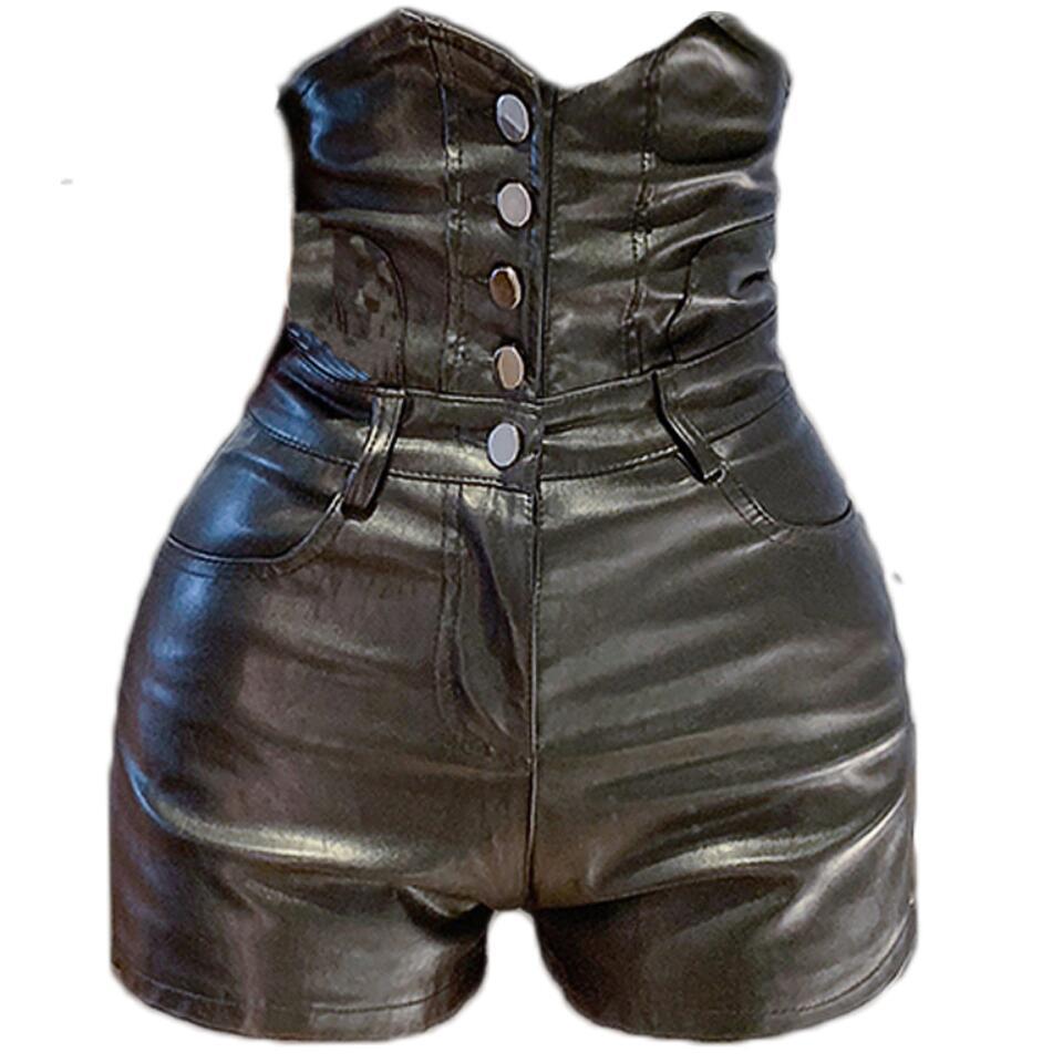 2019 Autumn Fashion High Waist Pu Shorts Women Single Breasted Skinny Shorts