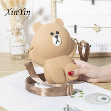 Fashion cartoon cute bear womens wallets and purses in red silicone mini diagonal mobile phone bag change Parent-child package