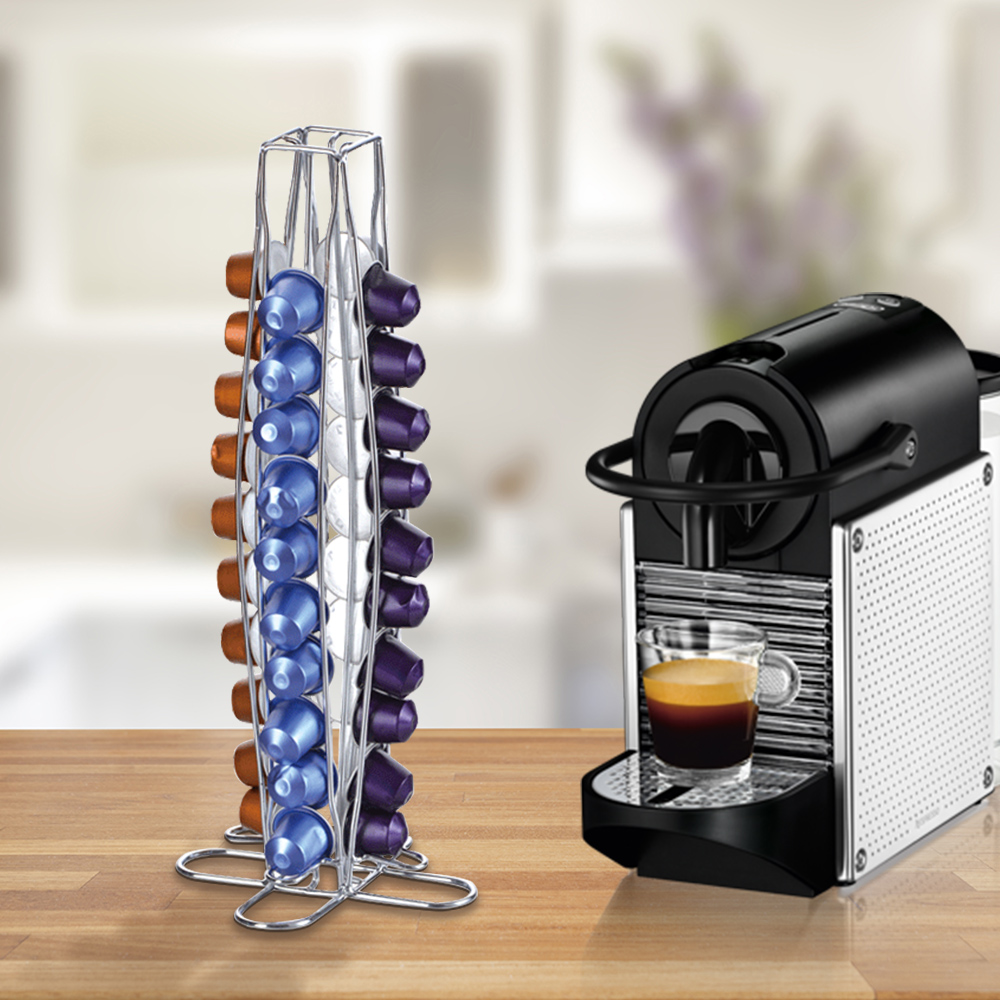 Coffee Pod Holder Dispenser Coffee Capsules Dispensing Tower Stand Fits For Nespresso Capsule Storage Coffee Holder