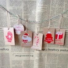 50pcs Merry Christmas Gift Kraft Paper Tags Santa Claus Paper Hang Tag Snowflake Christmas Tree Party Decor DIY Label Gift Tags snowflake santa claus gift leggings