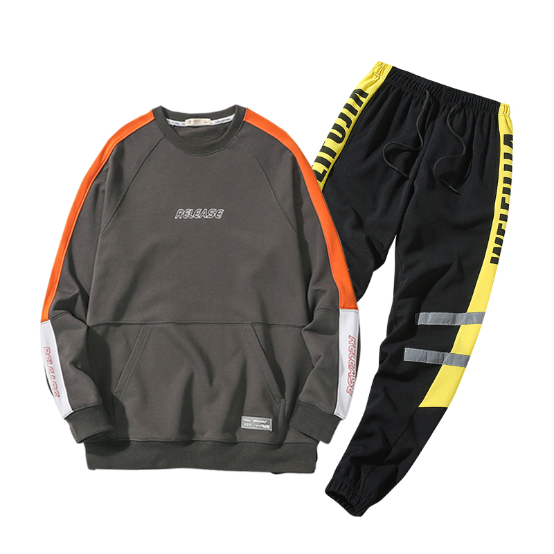 Image 2 - Men Brand New Cotton Sets Autumn Spring Casual Soft Sport Suit Jacket Men Sweatshirt Sweatpants 2 Pieces Sets Tracksuit Men 4XL-in Men's Sets from Men's Clothing