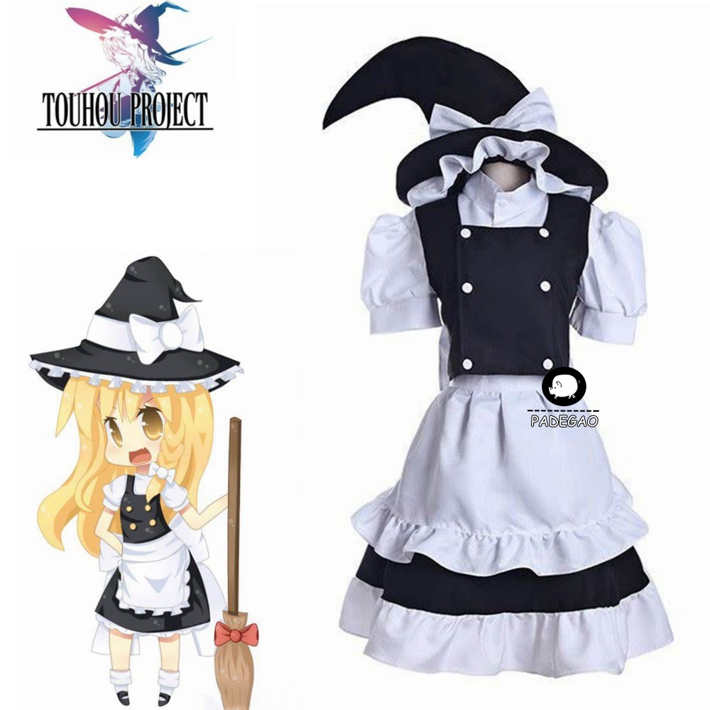 TouHou Project Kirisame Marisa Maid Dress Cosplay Costume Full Set With Hat Custom Made Free Shipping