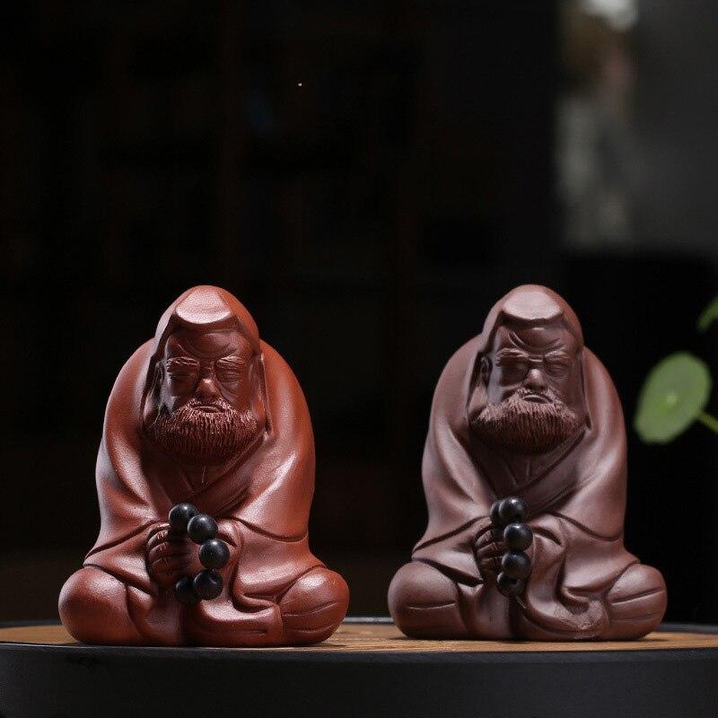 PINNY Purple Clay Dharma Tea Pet Handmade Dharma Statue Decoration Home Decoration Accessories Zen Creative Ornaments|Statues & Sculptures| |  - title=