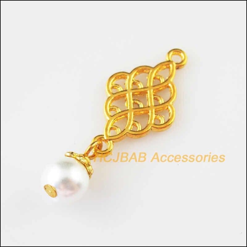แฟชั่น 8Pcs GOLD สีจีนดอกไม้สีขาวลูกปัดแก้ว Charms จี้ 14x37mm