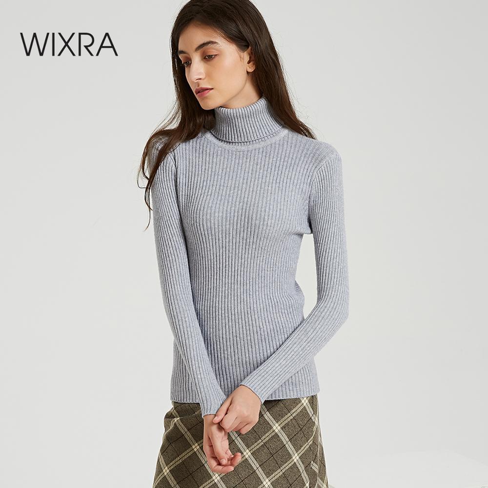 Wixra femmes solide tricoté chandails et pulls automne hiver col roulé basique Pull doit avoir des vêtements hauts pour femmes