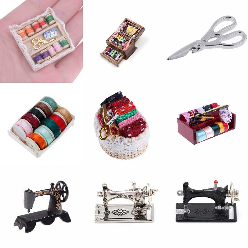 1:12 1:12 Mini Sewing Machine Sewing Box With Needle Scissors Kit Simulation Home Furniture Dollhouse Miniature Accessories