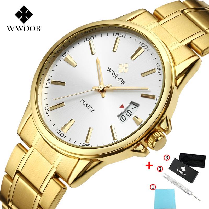 WWOOR Luxury Brand Watch Men Waterproof Quartz Sport Date Watch Fashion Stainless Steel Gift Box Men's Watches Relogio Masculino