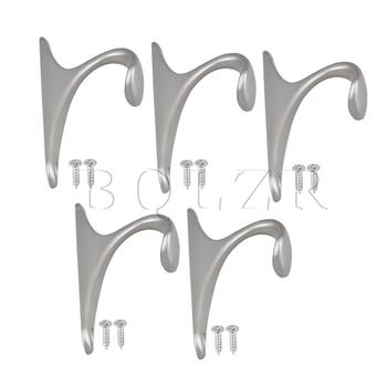 BQLZR Zinc Alloy Pearl Chrome Coat Hook for Kitchen Office Entryway Pack of 5 фото