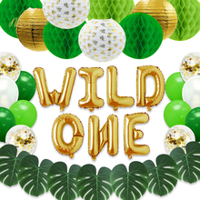 NICROLANDEE Wild One Gold Green Jungle Forest Party Supplie Lantern Honeycomb Ball Tropical Set for Birthday Home Decor