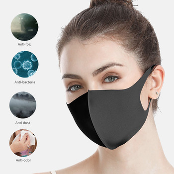 1/3/6pcs Activated Carbon Windproof Mouth-muffle Bacteria Proof Flu Face Masks Nano-polyurethane Black Mouth Mask Anti Dust Mask