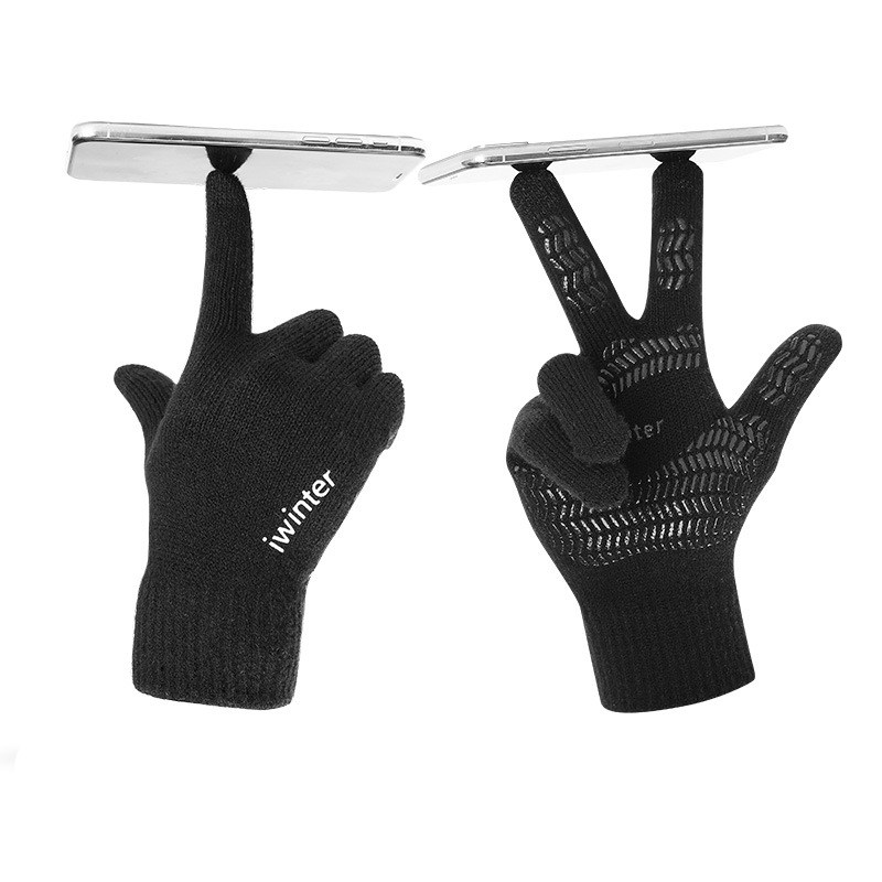 Mode Touchscreen Handschuhe Männer Frauen <font><b>Winter</b></font> <font><b>Warme</b></font> Strick Fäustlinge Anti Slip Verdicken Volle Finger Guantes image