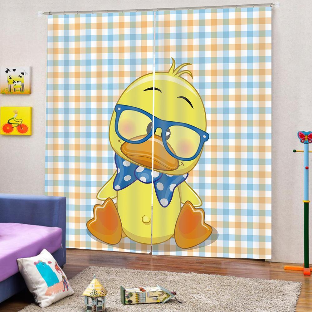 Personalizado 3D Impressão Dos Desenhos Animados pato amarelo Moderna cortinas blackout para sala de estar quarto cortinas Decoração Interior - 2