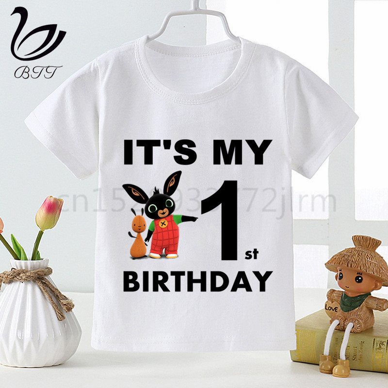 Birthday T-Shirt Tees Girl Clothes Funny Party Rabbit Bing Kids Children Cartoon Short title=