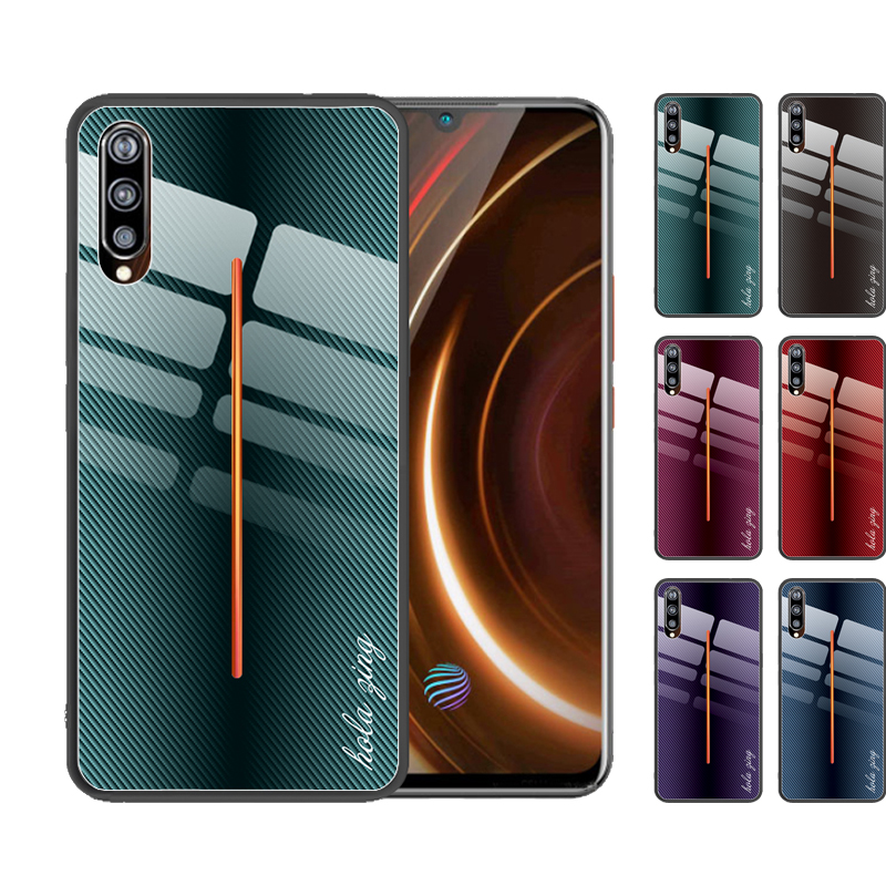 For VIVO Z5X Z5 Z3 Z3i Z1 Pro Z1i Iqoo Pro NEO Case Luxury Carbon Fiber Pattern Tempered Glass Cover Coque Funda