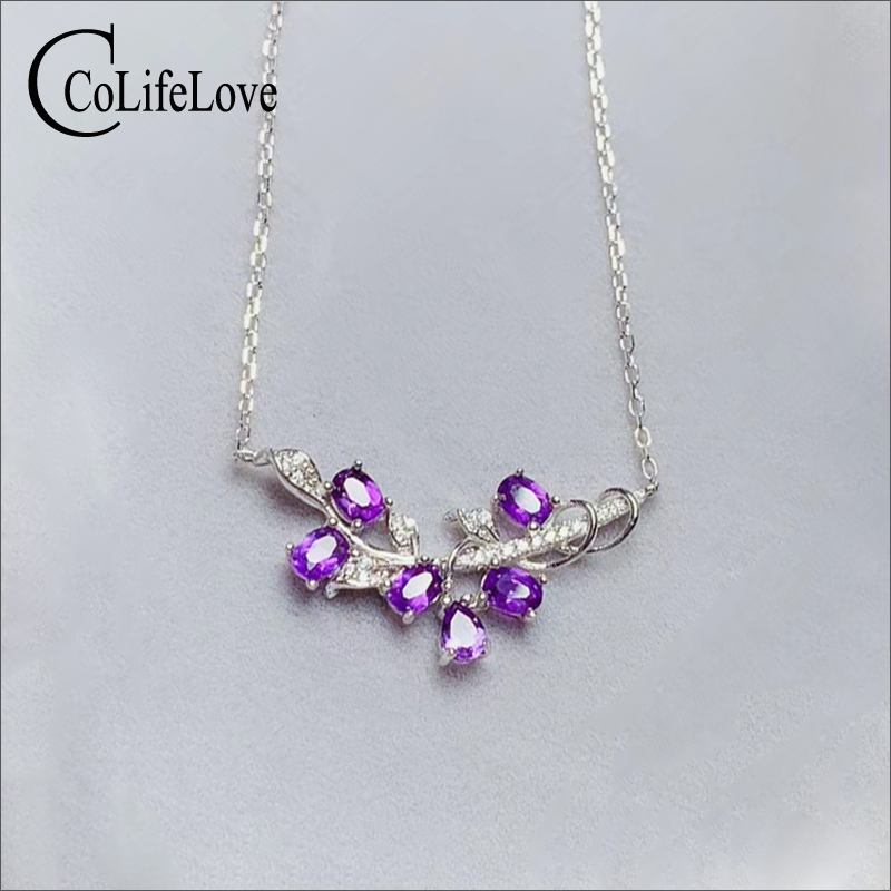 CoLife Jewelry Fashion 925 Silver Necklace for Party 6 Pieces Natural Amethyst Necklace Silver Gemstone Jewelry