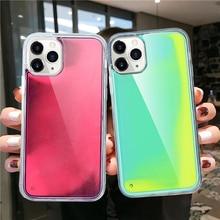 Fluorescent Luminous Neon Sand Case For iPhone 11 Pro XR XS Max X 6 6S S 7 8 Plus Liquid Glitter Quicksand Phone Back Cover etui набор fluorescent glitter tattoo 8