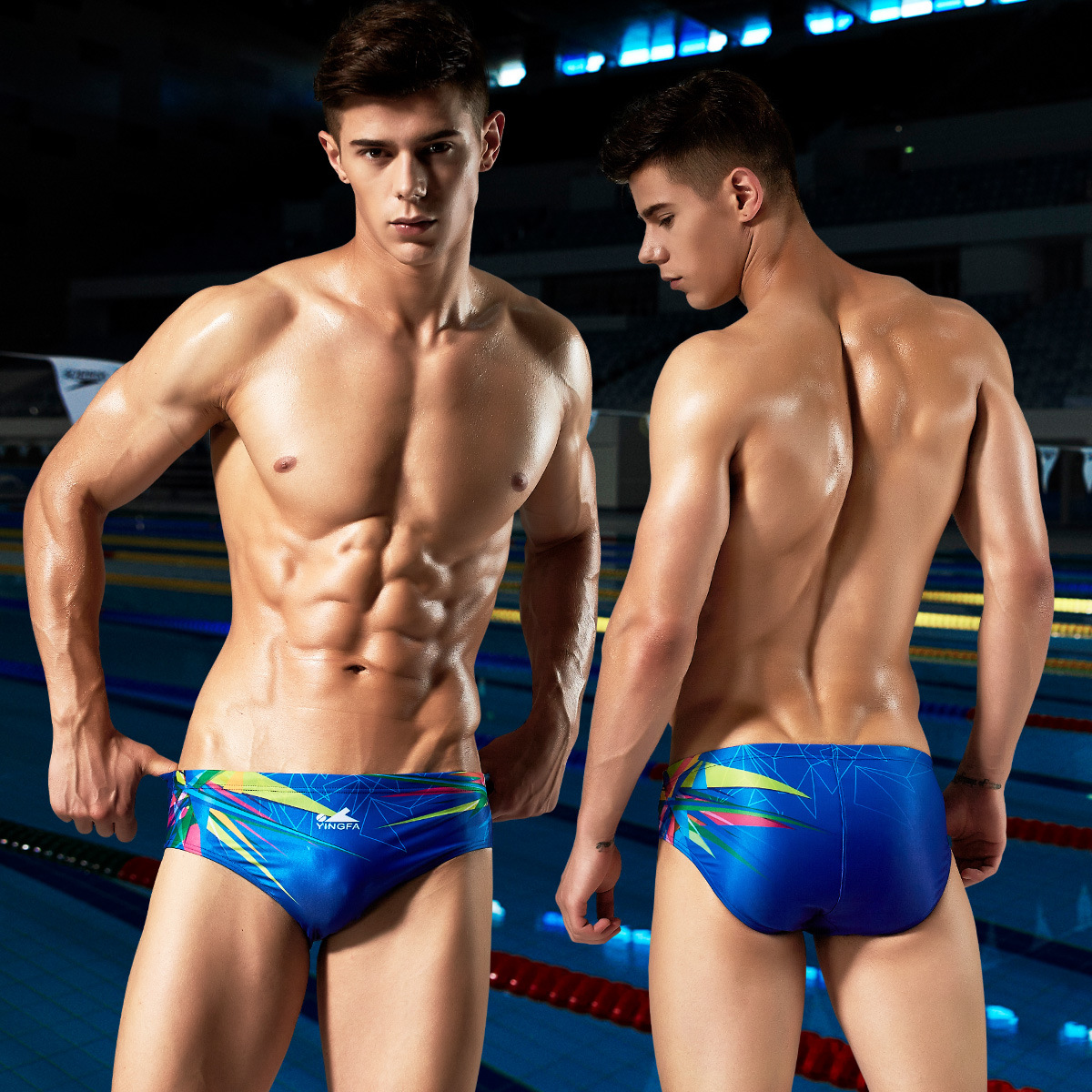 Game Industry Fitness Training Triangular Game Swimming Trunks Competition Athletic-Style Quick-Dry Men Tour Game