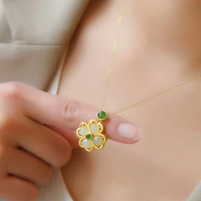 Clover Pendant Necklace Jade Fashion Jewelry Amulet Natural-Hetian S925 Women for Chalcedony