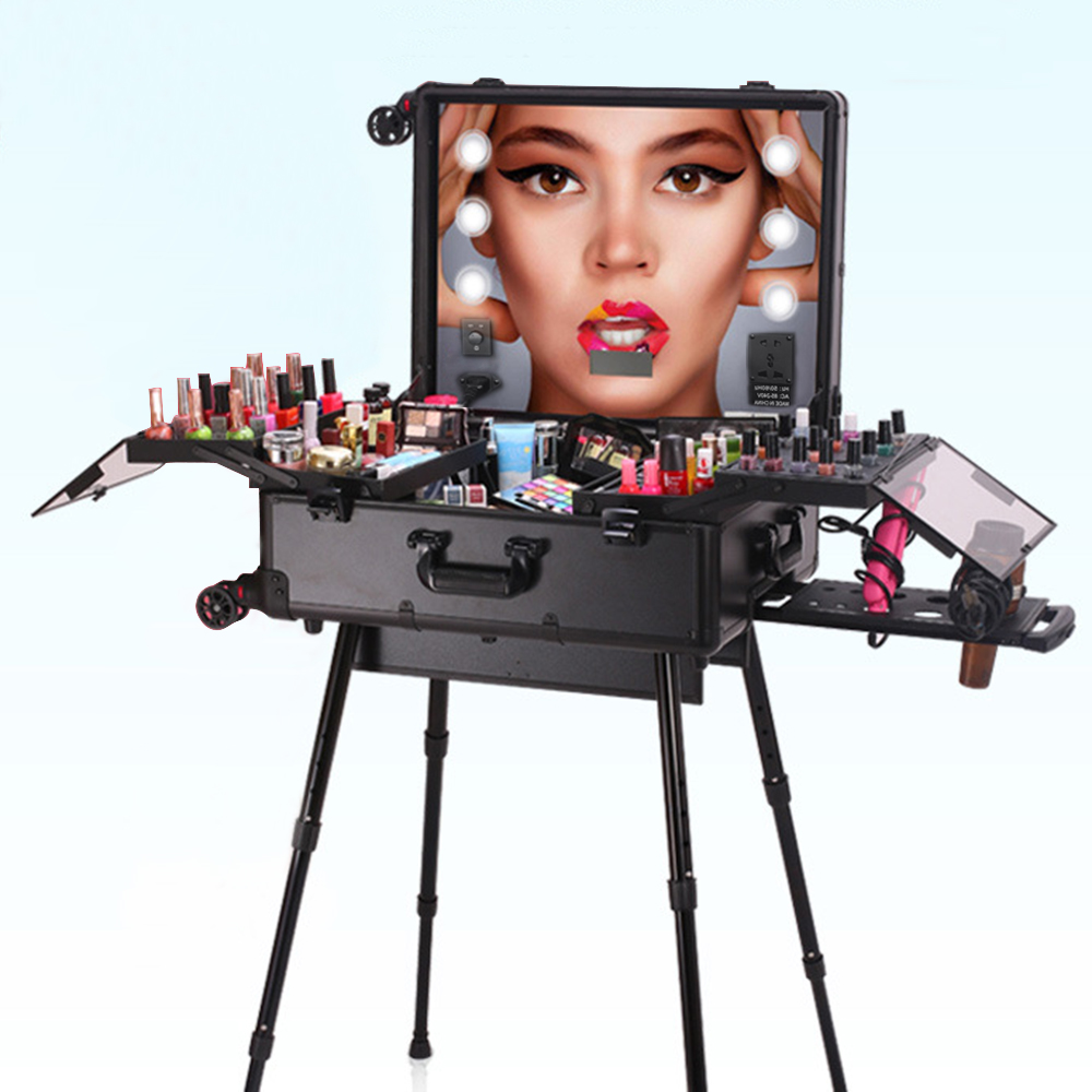 Panana Portable Makeup Station with LED Mirrors Tray 4 Legs Table Free-standing Perfect for Outdoor Studio Artist Making Up