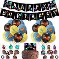 1 Набор из латексных воздушных шаров среди нас, баннер для игр, игрушки для торта, черные украшения для дня рождения, домашние животные, Мульт...