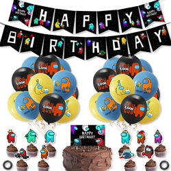 1set Among Us Latex Balloon Game Banner Cake Topper Toys Black Happy Birthday Party Decorations Pet Cartoon Toys For Kids Adult