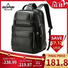 Bopai Luxe Echt Lederen Rugzak Voor Mannen Vrouwen Reizen Zwart Bagpack Top Laag Koe Lederen Mannen Zakelijke Laptop Rugzakken