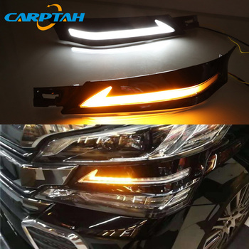 2pcs For Toyota Vellfire 2016 - 2018 2019 202 LED Daytime Running Light with Yellow Turn Signal Waterproof 12V Fog Lamp LED DRL