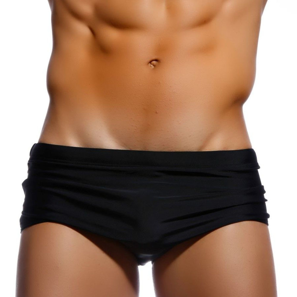 Uxh Men Solid Color Black Chinlon AussieBum Simple Loose And Plus-sized-Style Swimming Trunks