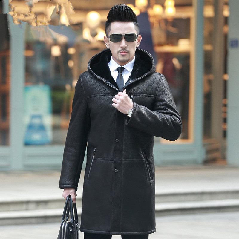 Leather Jacket Men Sheep Shearing Winter Coat Men Real Fur Coat Sheepskin Mens Leather Jacket Jaqueta De Couro P1268-1 YY948