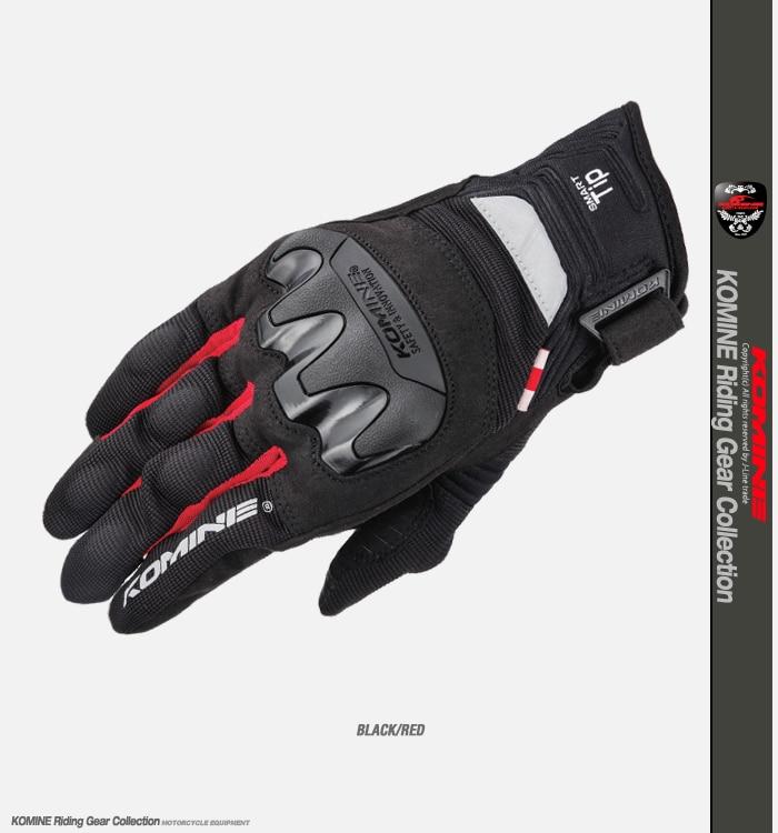 Black Red Komine GK-220 Motorbike Glove Motorcycle MTB Bike Off-road Moto Gloves