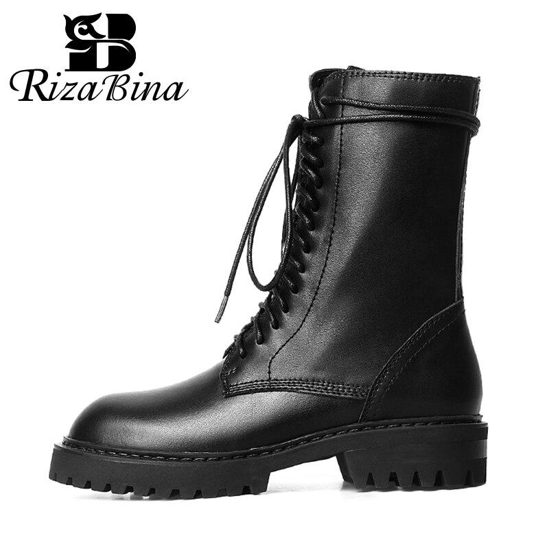 RIZABINA Woman Short Boots Leather Shine Flat Heel Winter Shoes Woman Warm Fashion Cool Mid Calf Boots Woman Footwear Size 34-43