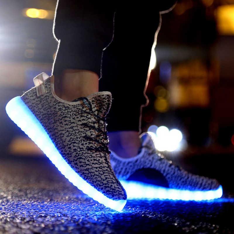 Winter mannen schoenen 2019 USB Charger gloeiende sneakers Verlichte schoenen voor lover Casual led schoenen mannen Lichtgevende Schoenen plus size 35-46