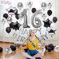 FENGRISE серебристый воздушный шар Декор, сладкие украшения для 16 вечевечерние, декорации с днем рождения 16th день рождения, вечевечерние 16 лент...