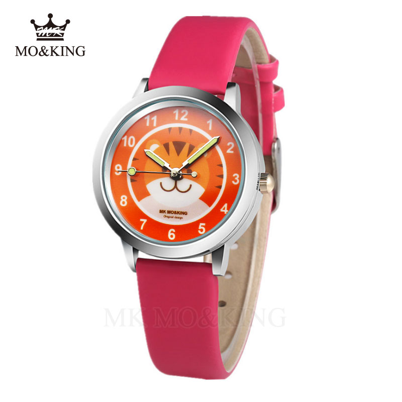 2020 New Arrived Children's Watch Cute Cartoon Cat Tiger Quartz Watches Candy Color Pu Boy Girl Baby Birthday Party Gift Clock