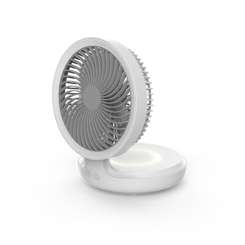 E808 Wireless Suspended Air Circulation <font><b>Fan</b></font> <font><b>USB</b></font> Rechargeable Folding 4 Wind Speed Electric <font><b>Fan</b></font> with Night Light Touch <font><b>Control</b></font> image