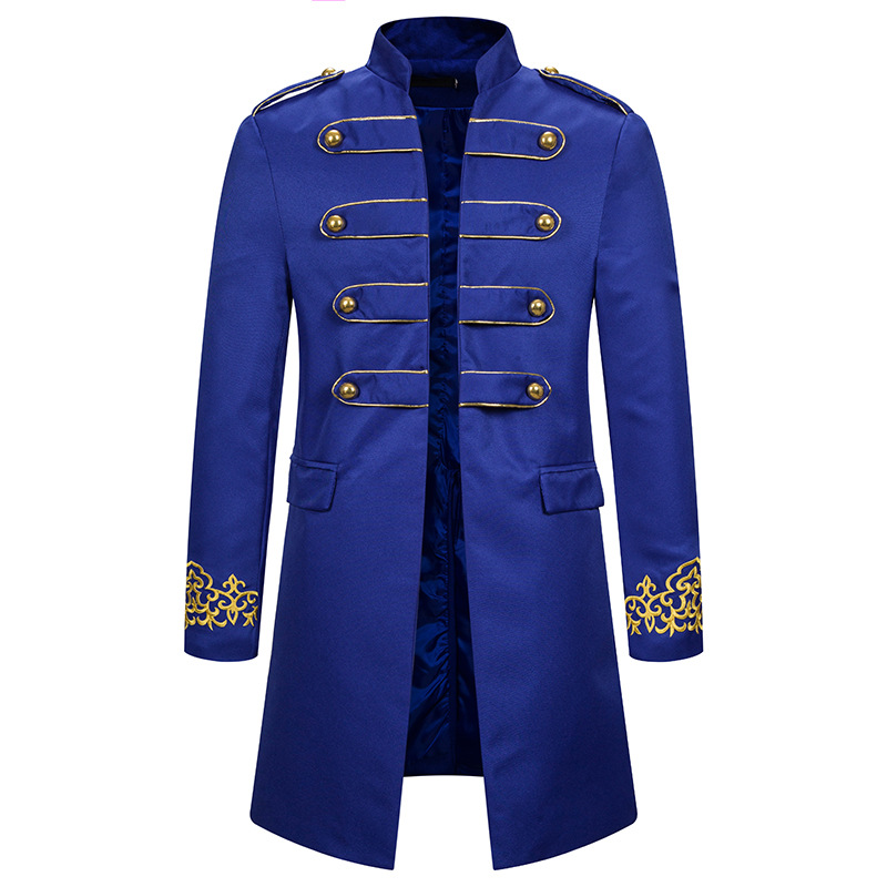 Royal Blue Embroidery Stand Collar Blazer Men Wedding Groom Slim Fit Suit Jacket Men Party Prom Coat Stage Clothes For Singers