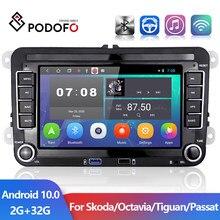 Podofo 2 din 7'' Android 10,0 Auto Radio GPS WIFI Auto Multimedia Player Für Golf/Polo/Tiguan/passat/b7/b6/SITZ/leon/Skoda/Octavia