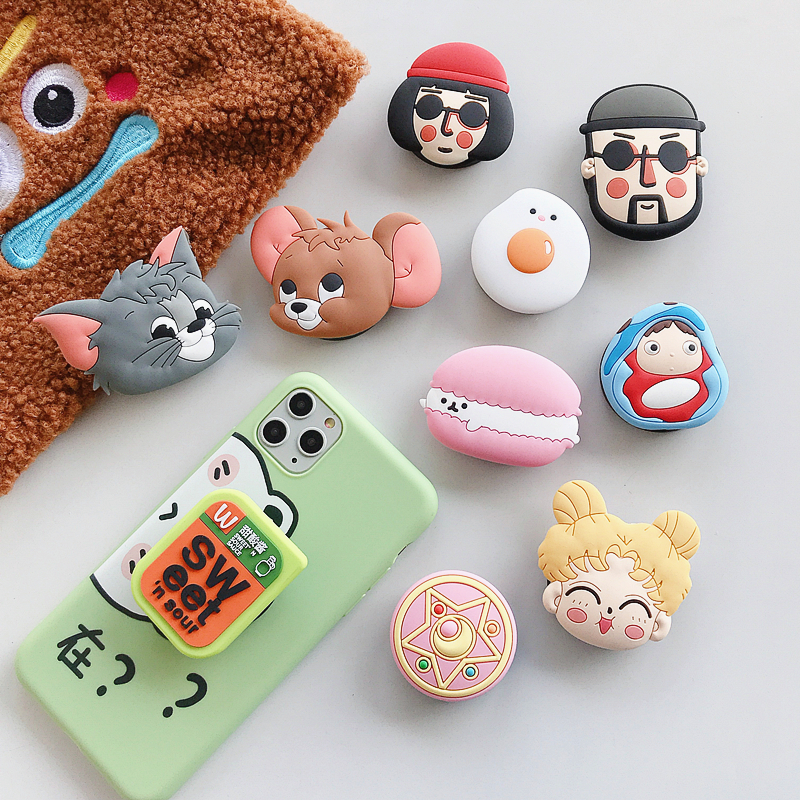 Cartoon 3D Fold Finger Grip Mobile Phone Holder For Iphone Samsung Xiaomi Huawei Case Cute Silicone Holder Stand Bracket