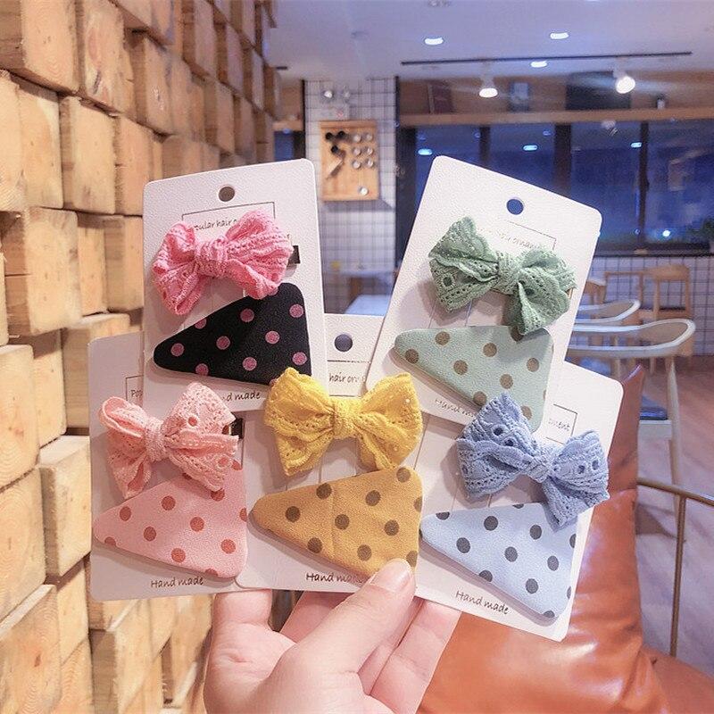1 Pair Korean Children's Simple Dots Colorful Fabric BB Clip Fashion Sweet Girl Princess Lace Bow Duckbill Clip Hair Accessories
