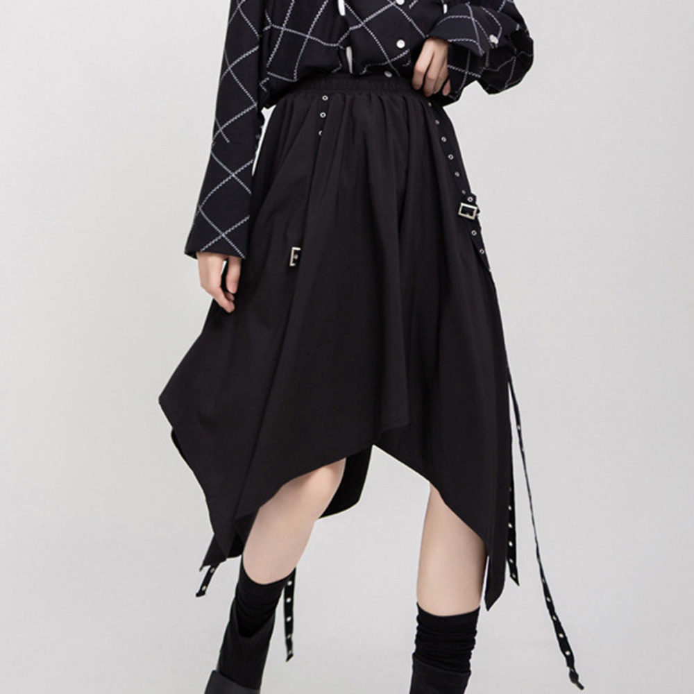 Rosetic Black Midi Skirt Women Bandage Punk Gothic Asymmetrical High Waist Skirts Fashion Goth Streetwear Casual Summer 2020]
