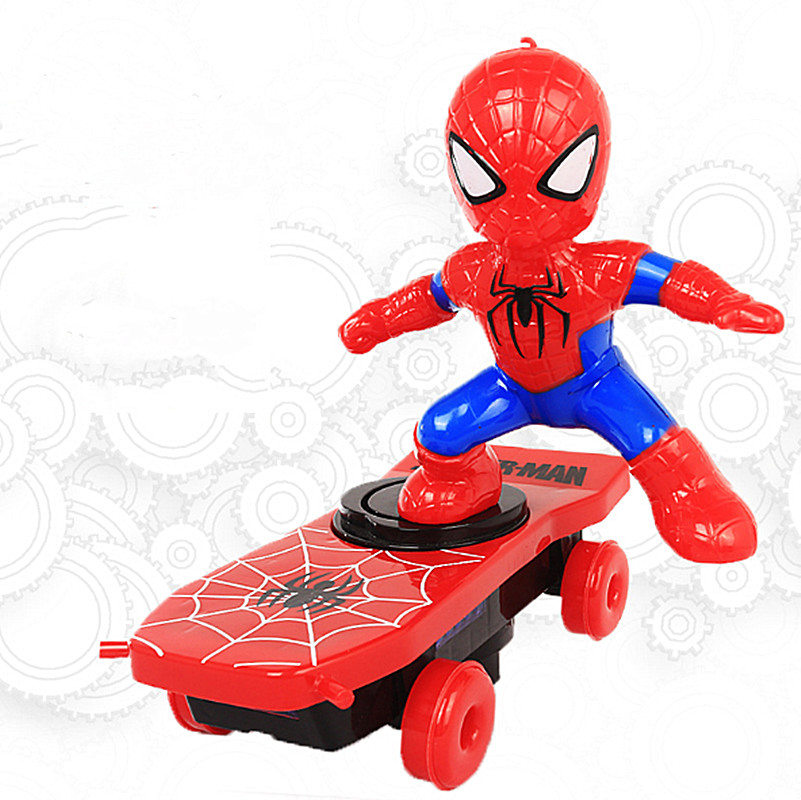 Kids Spider-Man Stunt Scooter Universal Rotating Rolling Electric Car With Musical Lights Iron Man Captain America Altman Toys