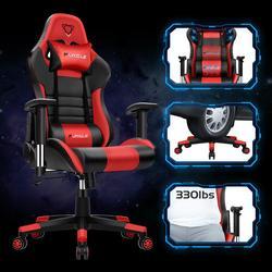 Furgle WCG, silla de ordenador de juego, silla de oficina ajustable de alta calidad, silla de juegos de cuero negra para el juego de oficina en casa, competitivo