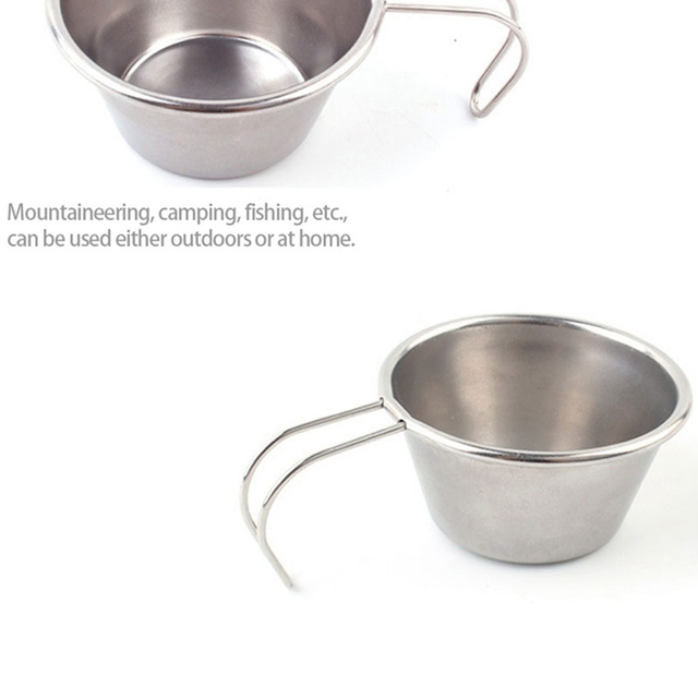 4 Stainless Steel Bowls Mini Portable Cookware Outdoor Camping Tableware Coffee Cup With Handles Anti-Scalding Small Bowl