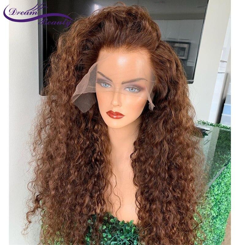 Цветной-коричные вьющиеся Синтетические волосы на кружеве парики 200% 13x4 Синтетические волосы на кружеве парики из натуральных волос для Для...