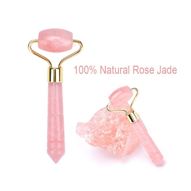 Розовые кварцевые ролики для лифтинга лица мини массажер кристалл для лица нефрит красота ролики для лица инструмент для похудения нефрит портативный милый массажер