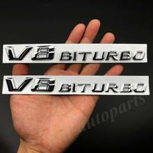 Stücke Metall Chrom V8 Biturbo Auto Fender Emblem Abzeichen Aufkleber Aufkleber V12 E S G